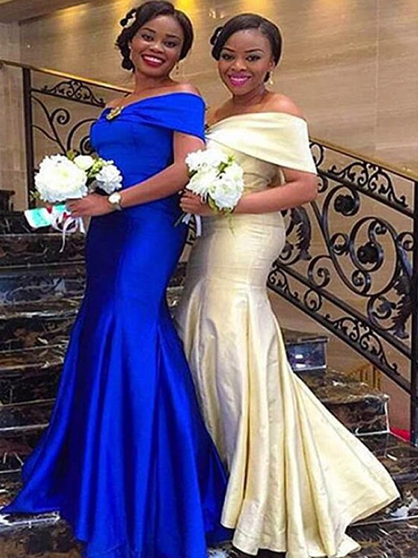Royal Blue Satin Off-the-Shoulder Trumpet/Mermaid Floor-Length Bridesmaid Dresses