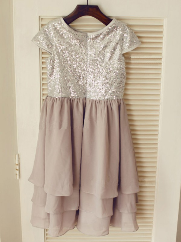 Grey Chiffon Jewel A-Line/Princess Tea-Length Flower Girl Dresses