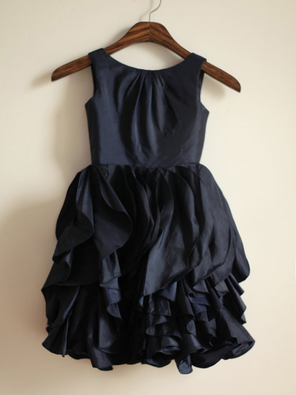 Dark Navy Taffeta Jewel A-Line/Princess Tea-Length Flower Girl Dresses